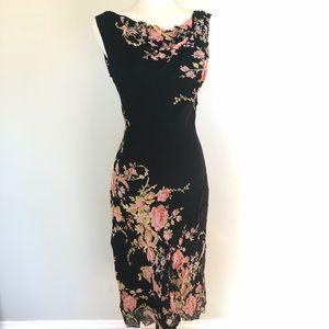 Floral chiffon Black 20's style Bias cut dress